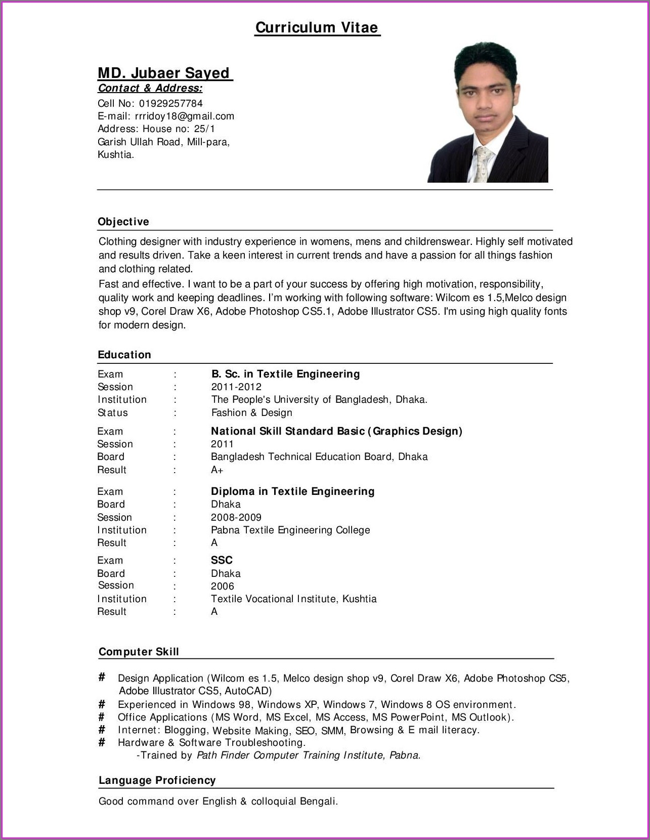Curriculum Vitae Example Free Download