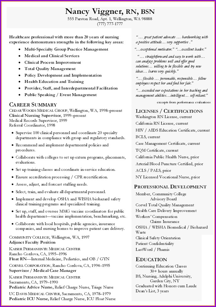 Curriculum Vitae For Nurses Template