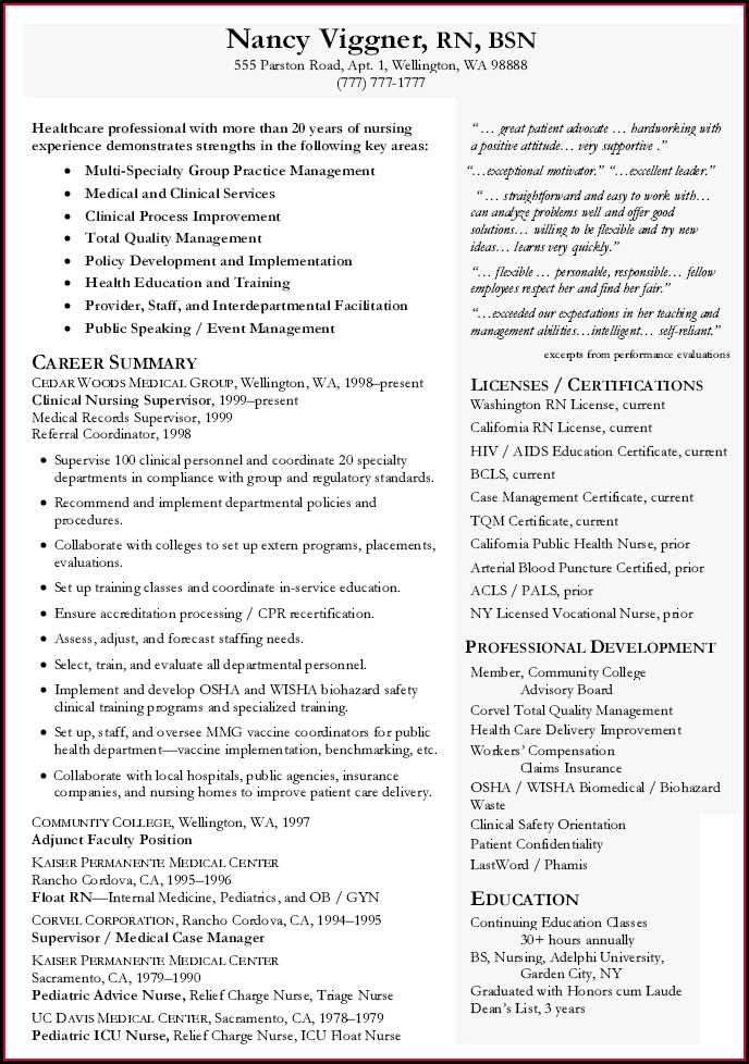 Curriculum Vitae For Nursing Assistant