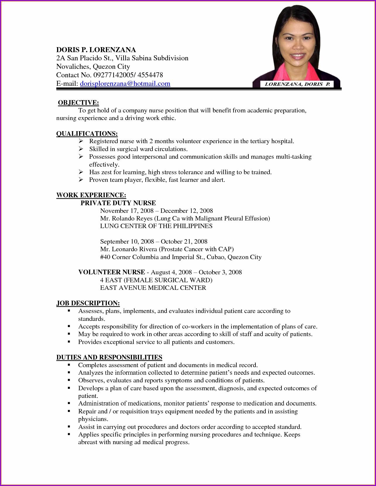 Curriculum Vitae Format For Nurses Pdf