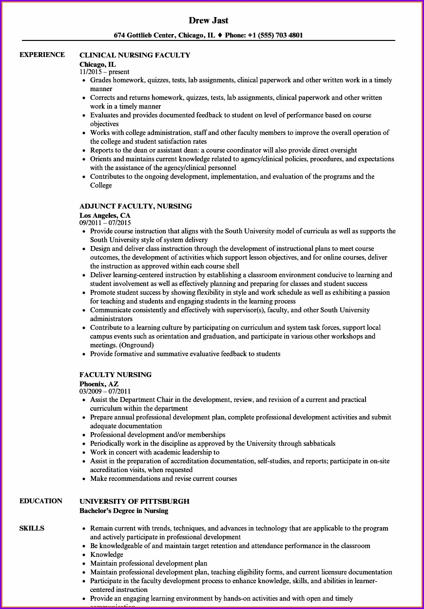 Curriculum Vitae Nurse Educator Template