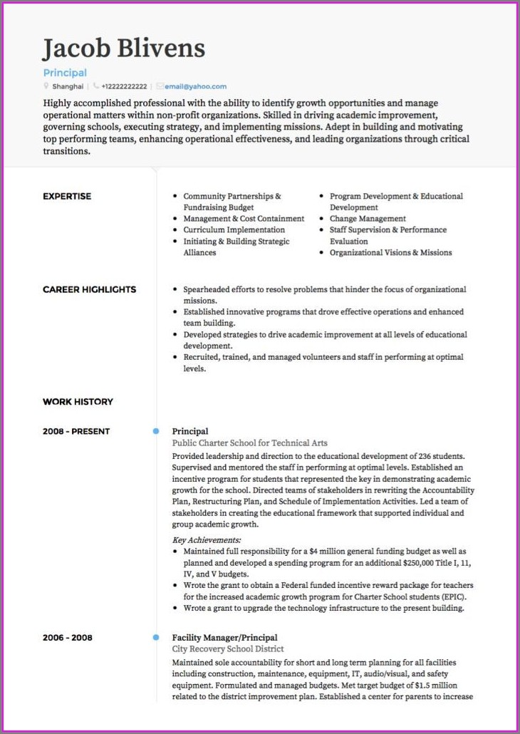 Curriculum Vitae Sample For Teachers Template