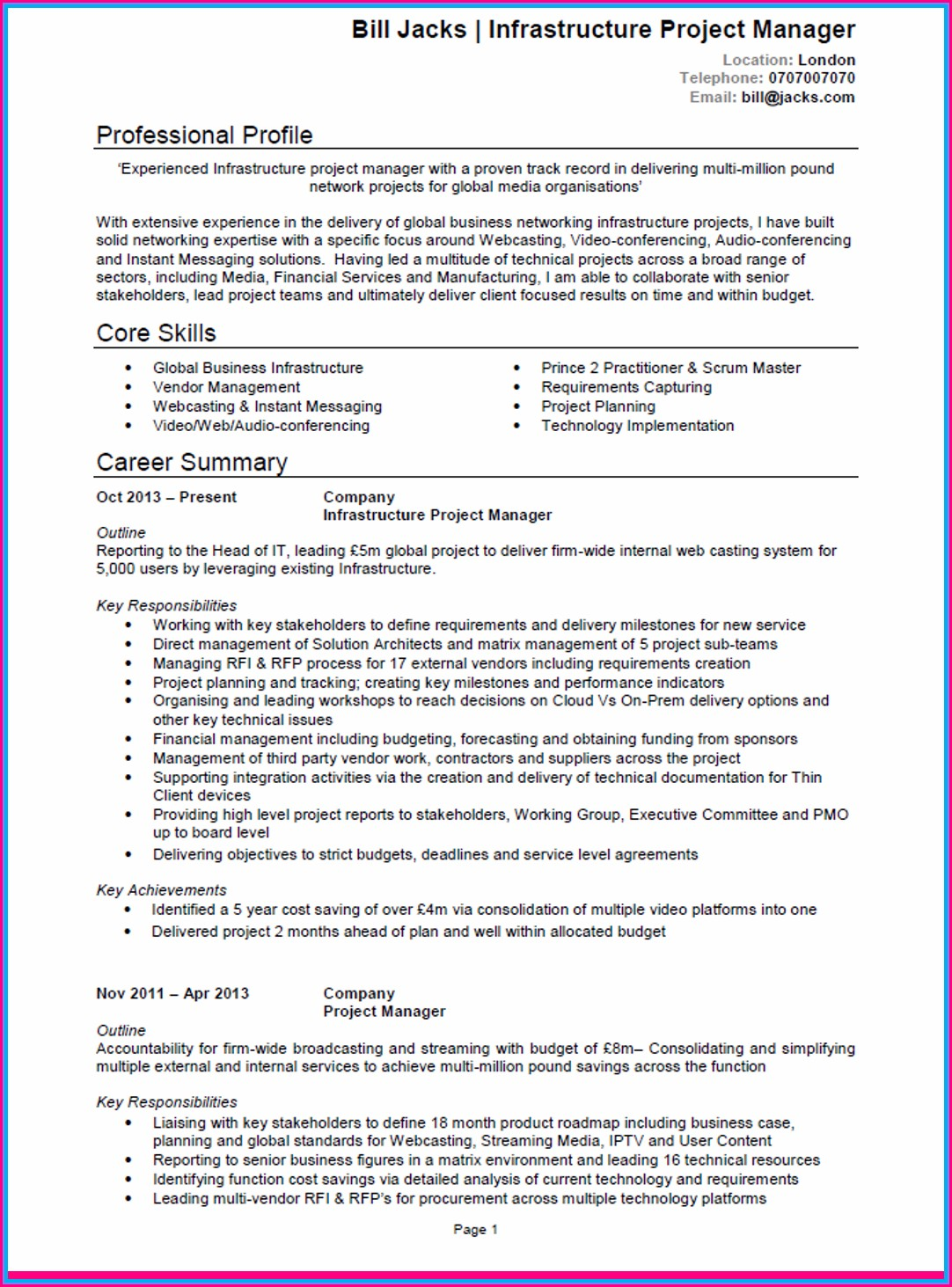 Curriculum Vitae Samples For Project Managers