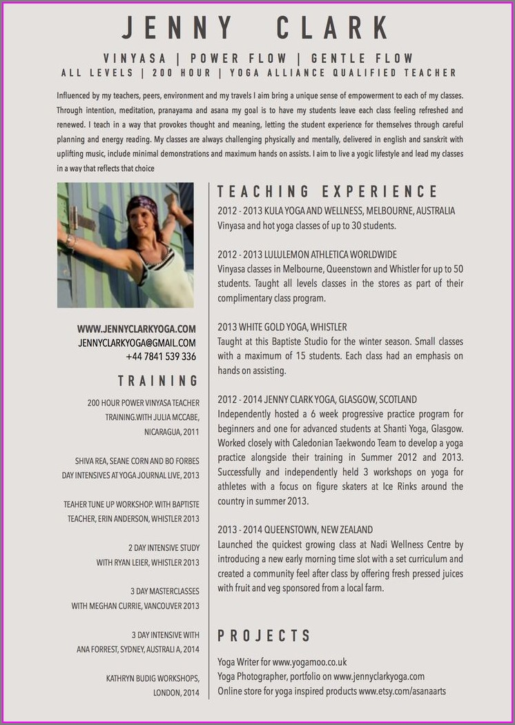 Curriculum Vitae Template For Teachers Australia