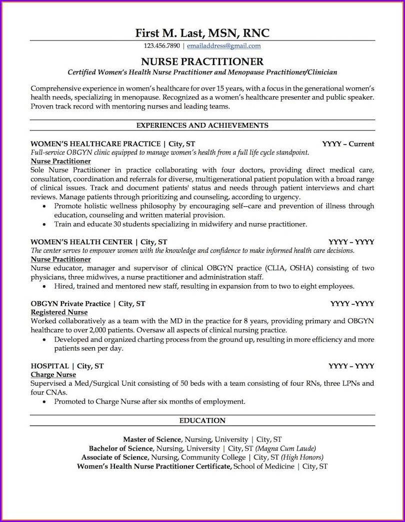 Curriculum Vitae Template Nurse Practitioners