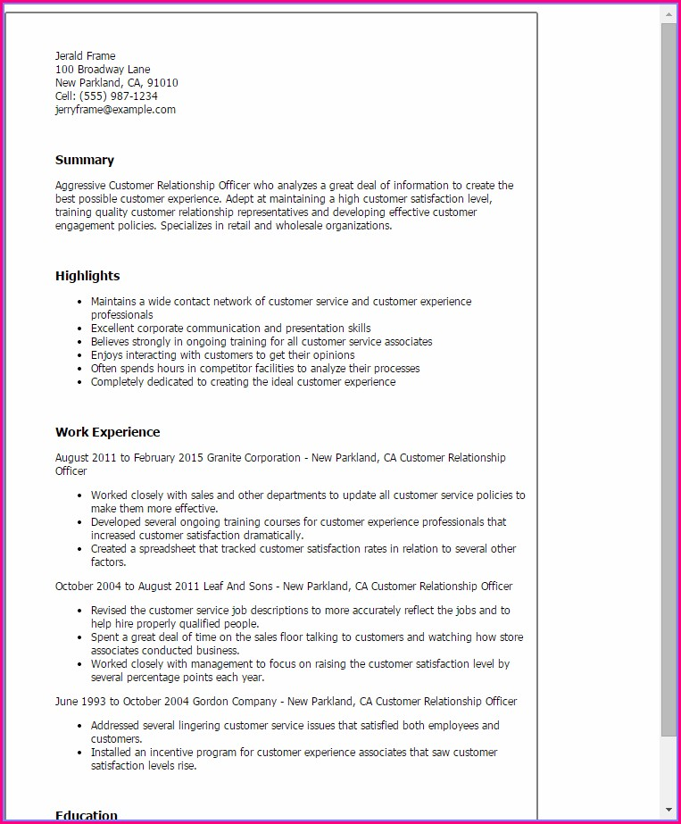 Customer Relationship Customer Service Resume Template Free