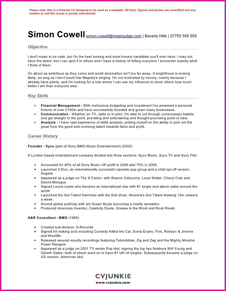 Customer Service Cv Sample Free