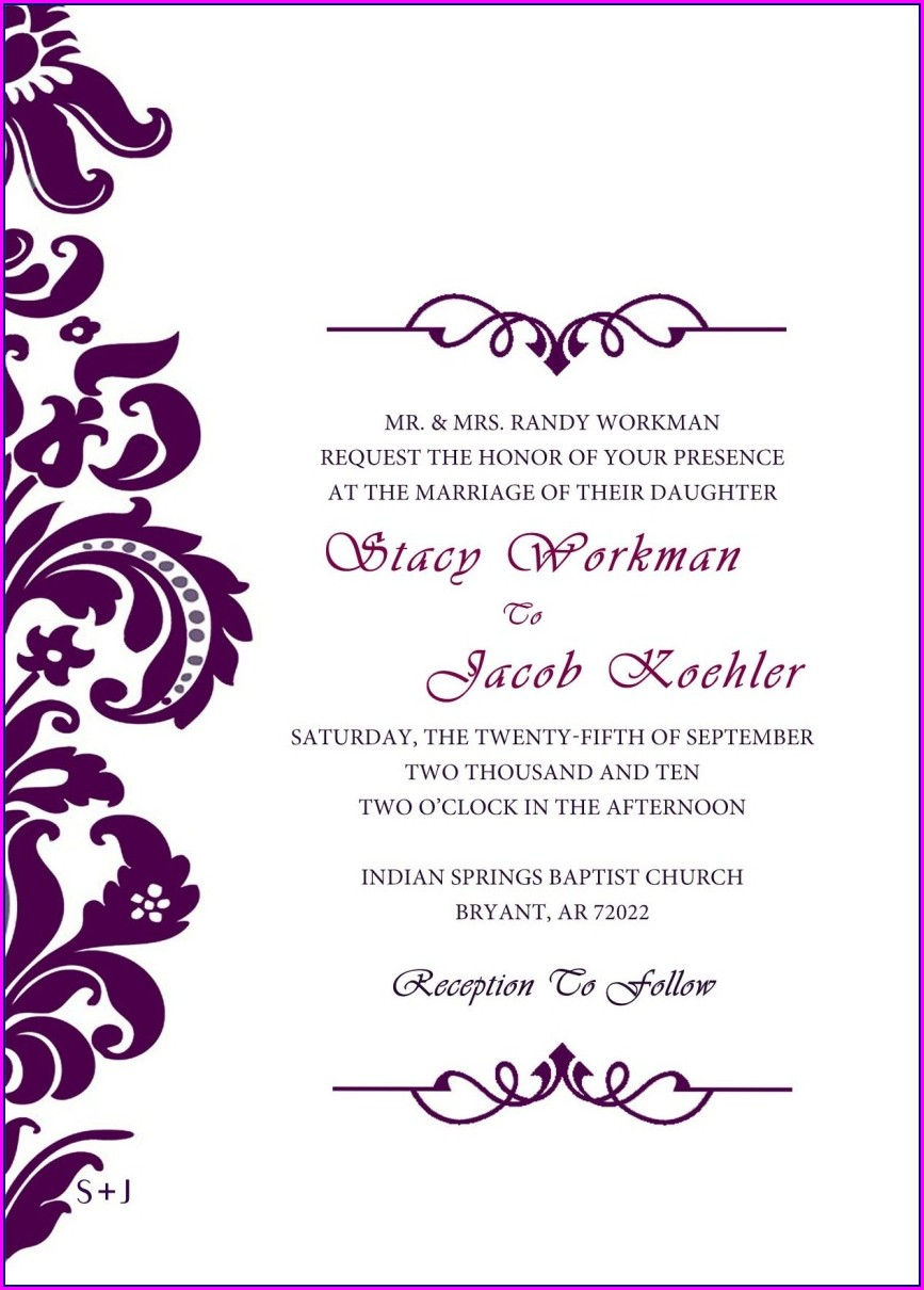 Customizable Free Wedding Invitation Templates For Word
