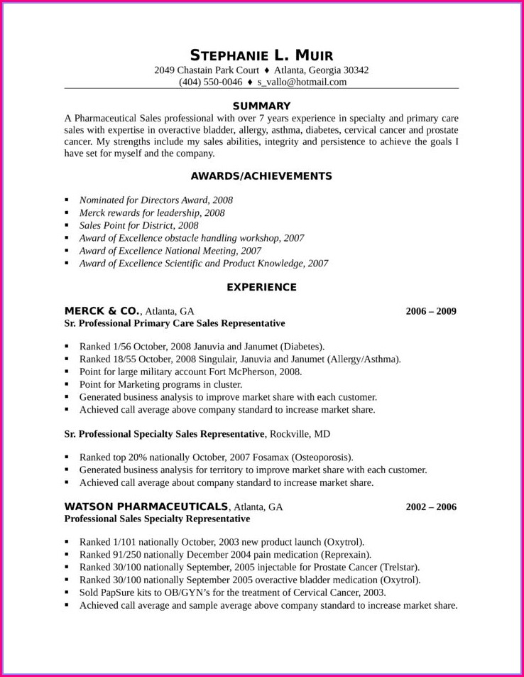 Cv For Sales Manager Position