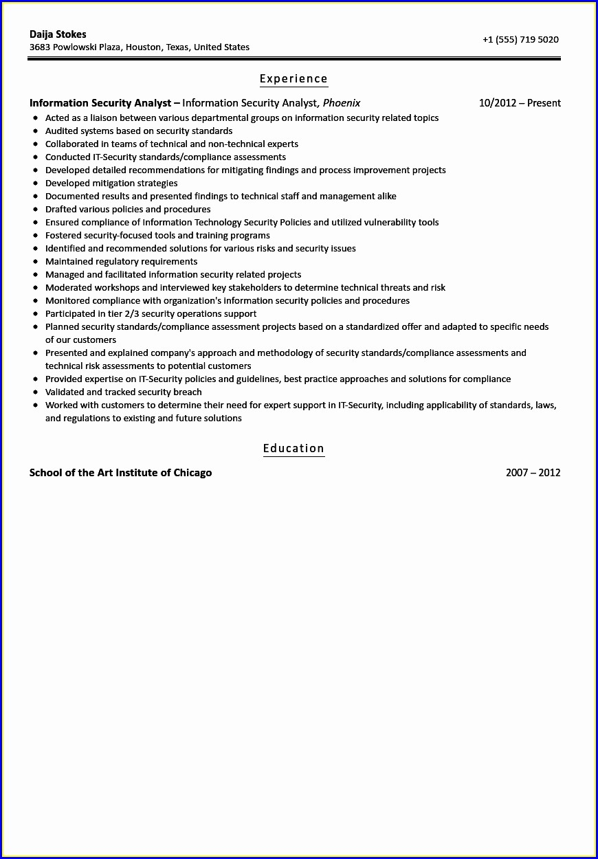 Cyber Security Analyst Resume Sample