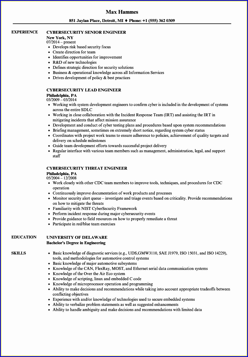 Cyber Security Engineer Resume Sample
