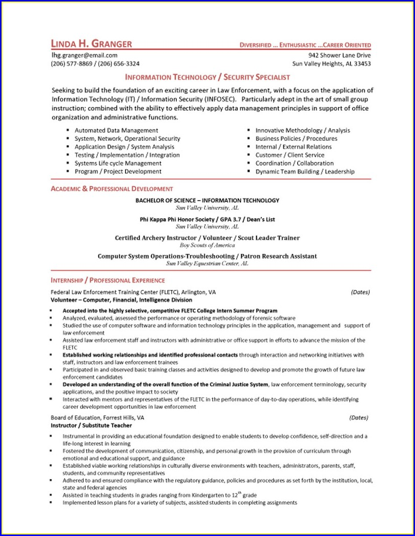 Cyber Security Internship Resume Examples
