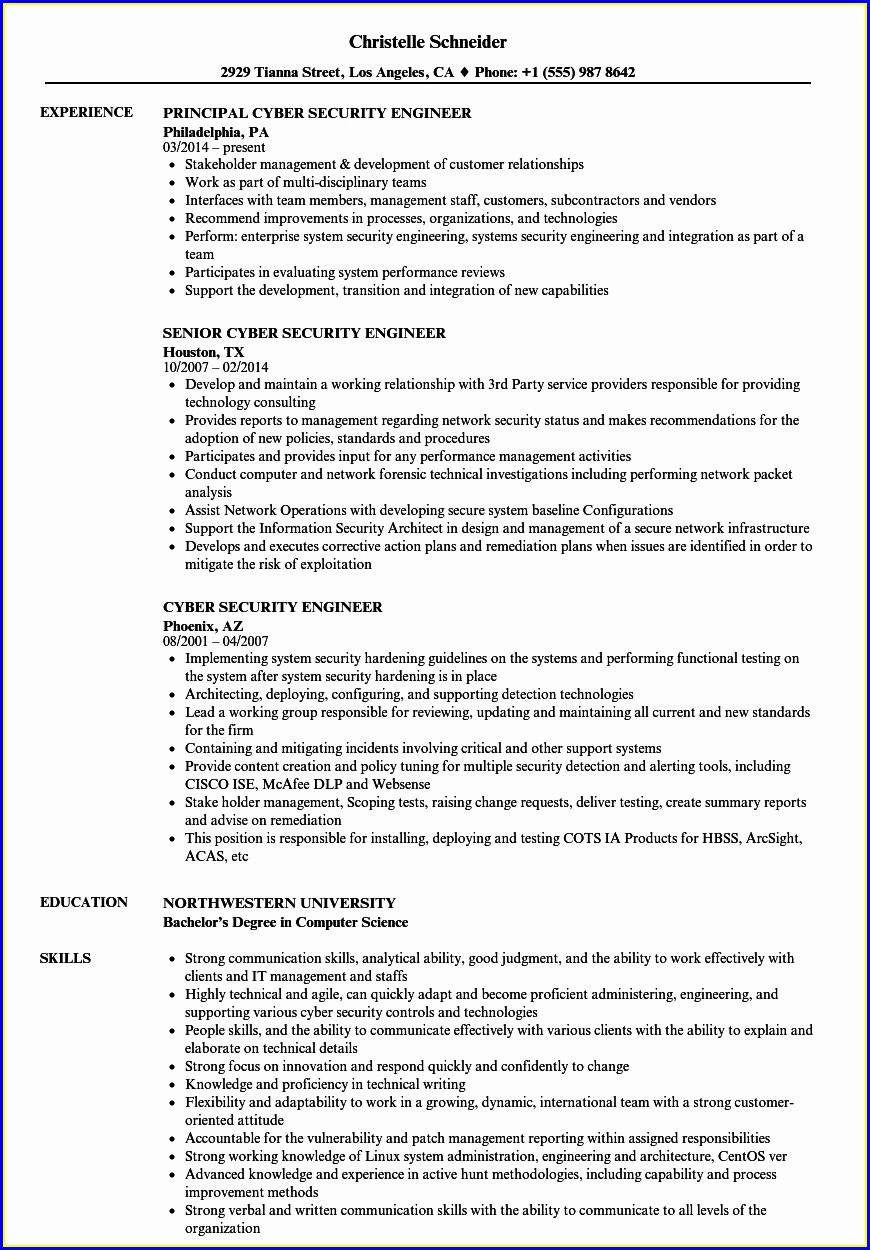 Cyber Security Specialist Resume Sample