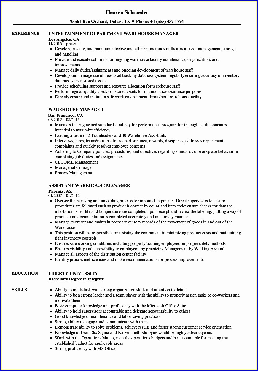 Data Warehouse Manager Resume Sample