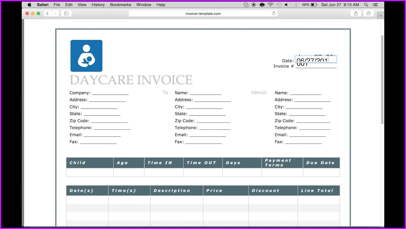 Daycare Invoice Template Pdf