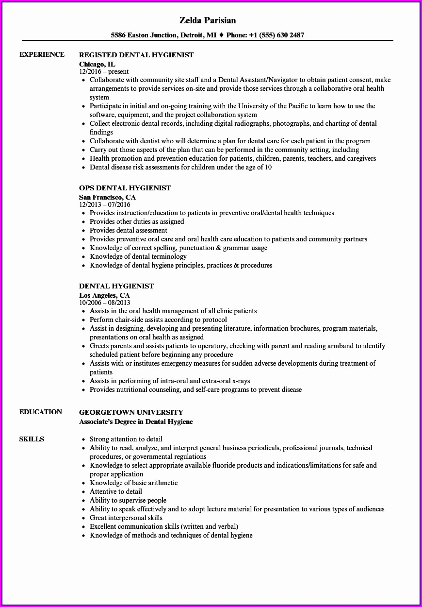 Dental Hygiene Graduate Resume Sample
