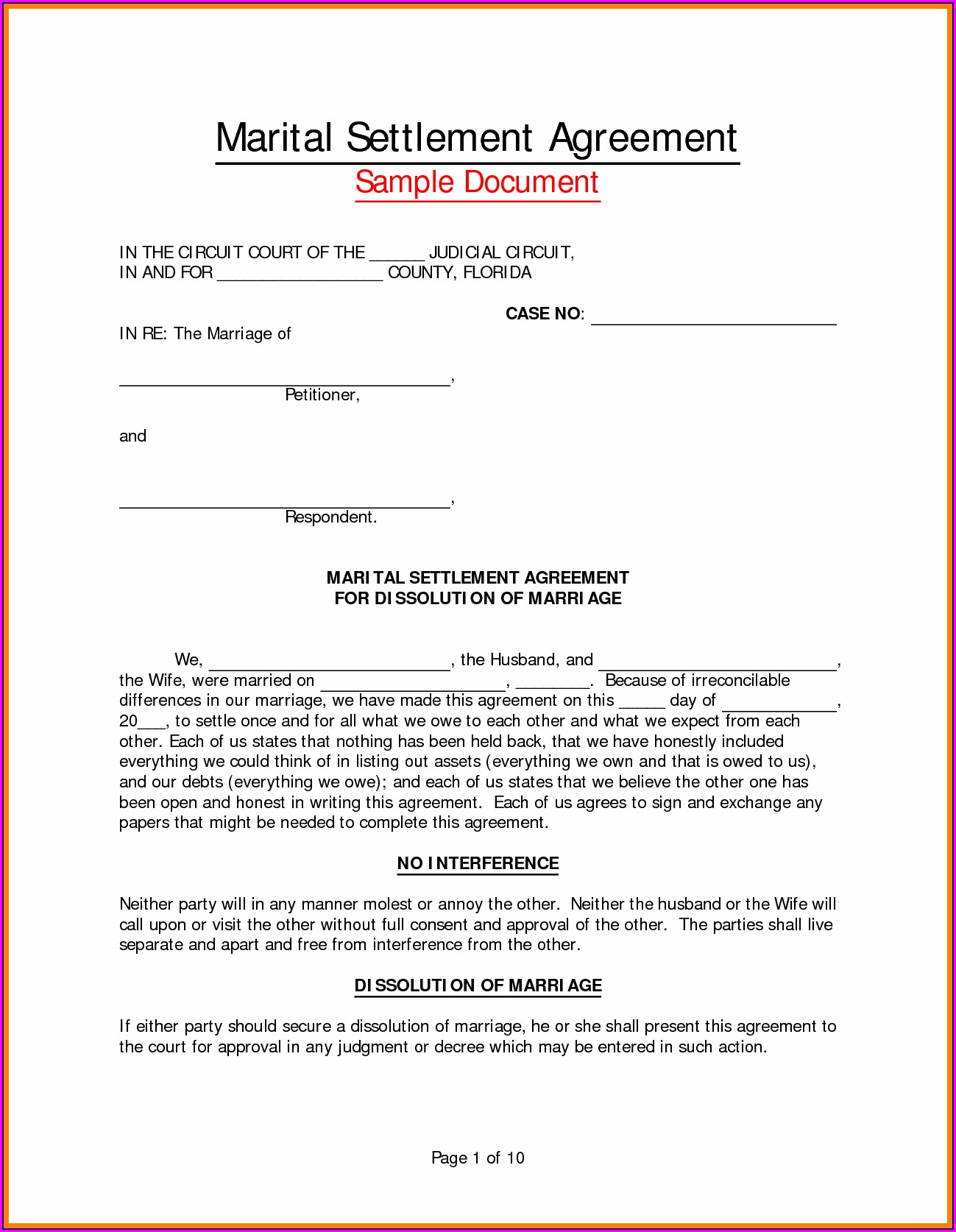 Divorce Separation Agreement Template