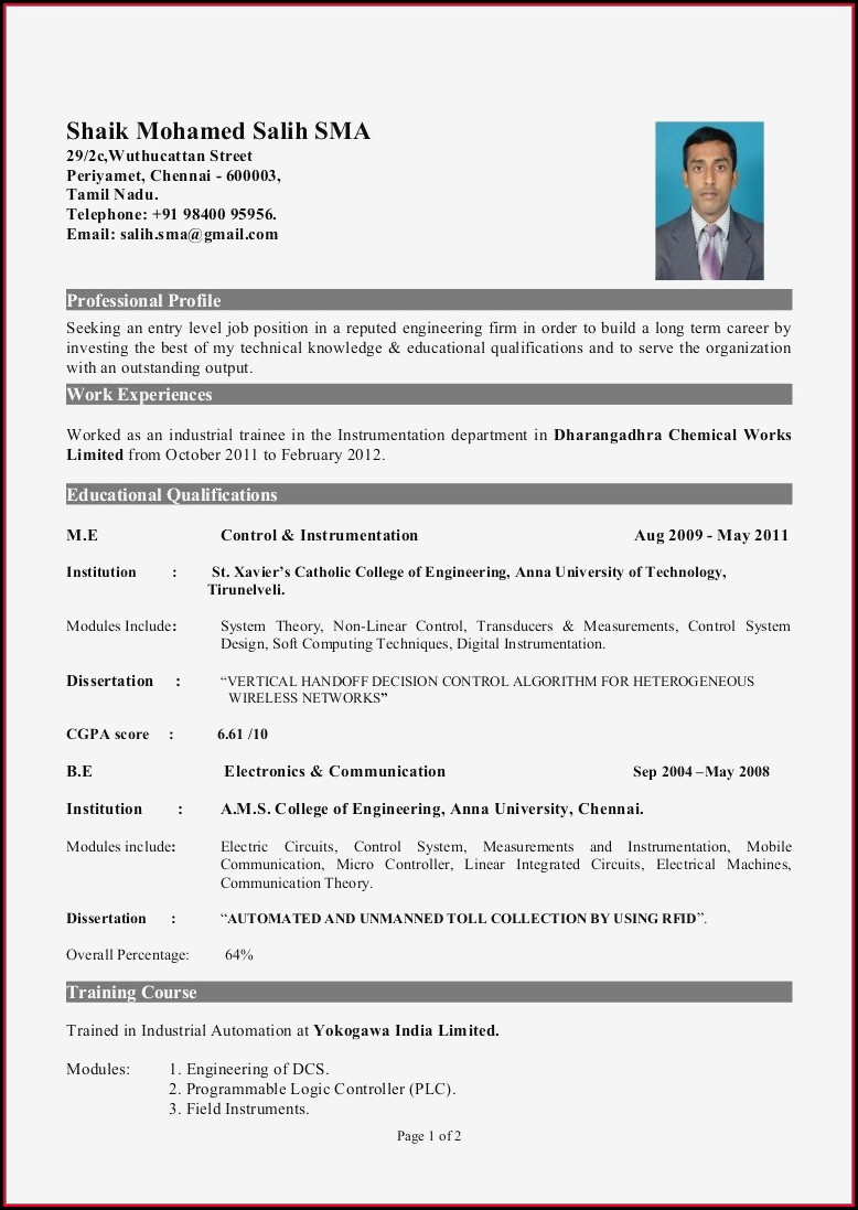 Doc Best Resume Format Download For Fresher