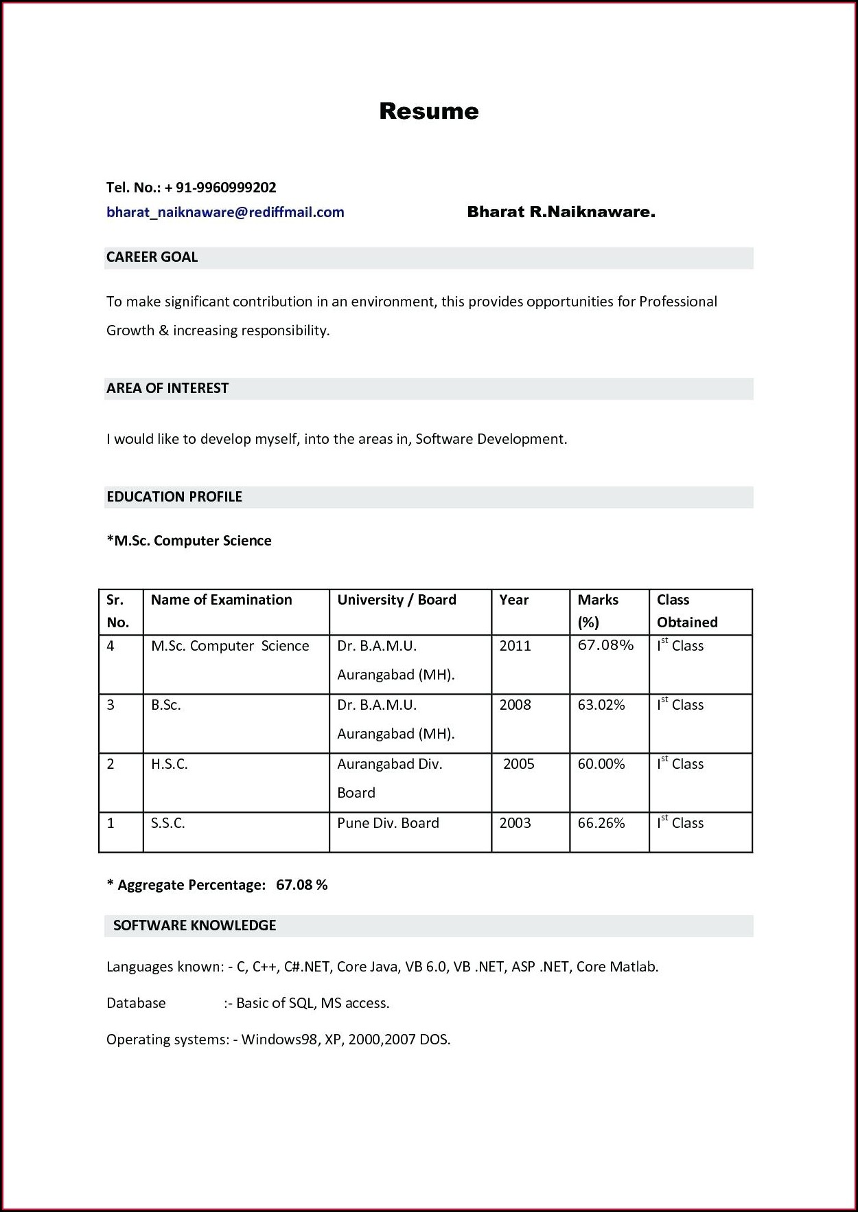 Doc Microsoft Word Best Resume Format Download For Fresher