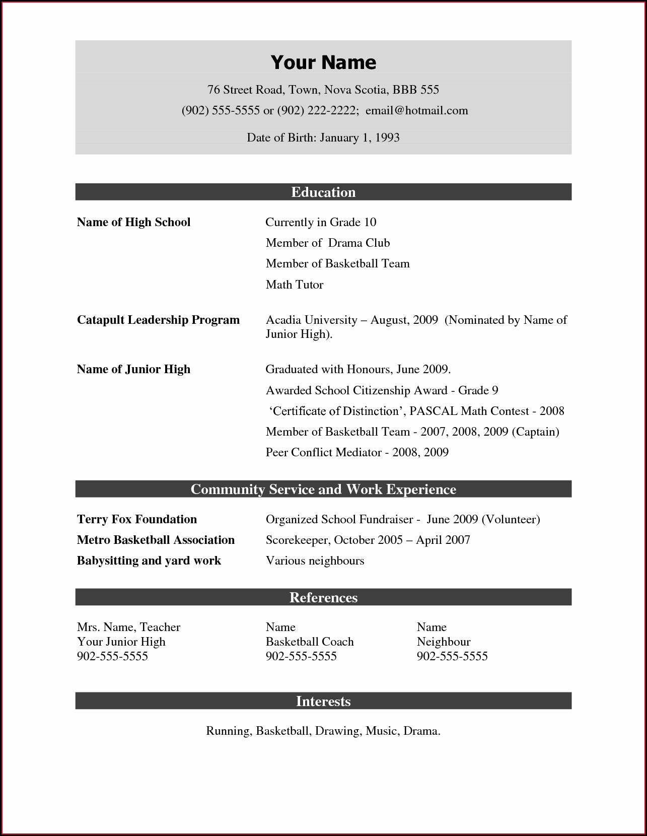 Doc Resume Format Word File Download Free