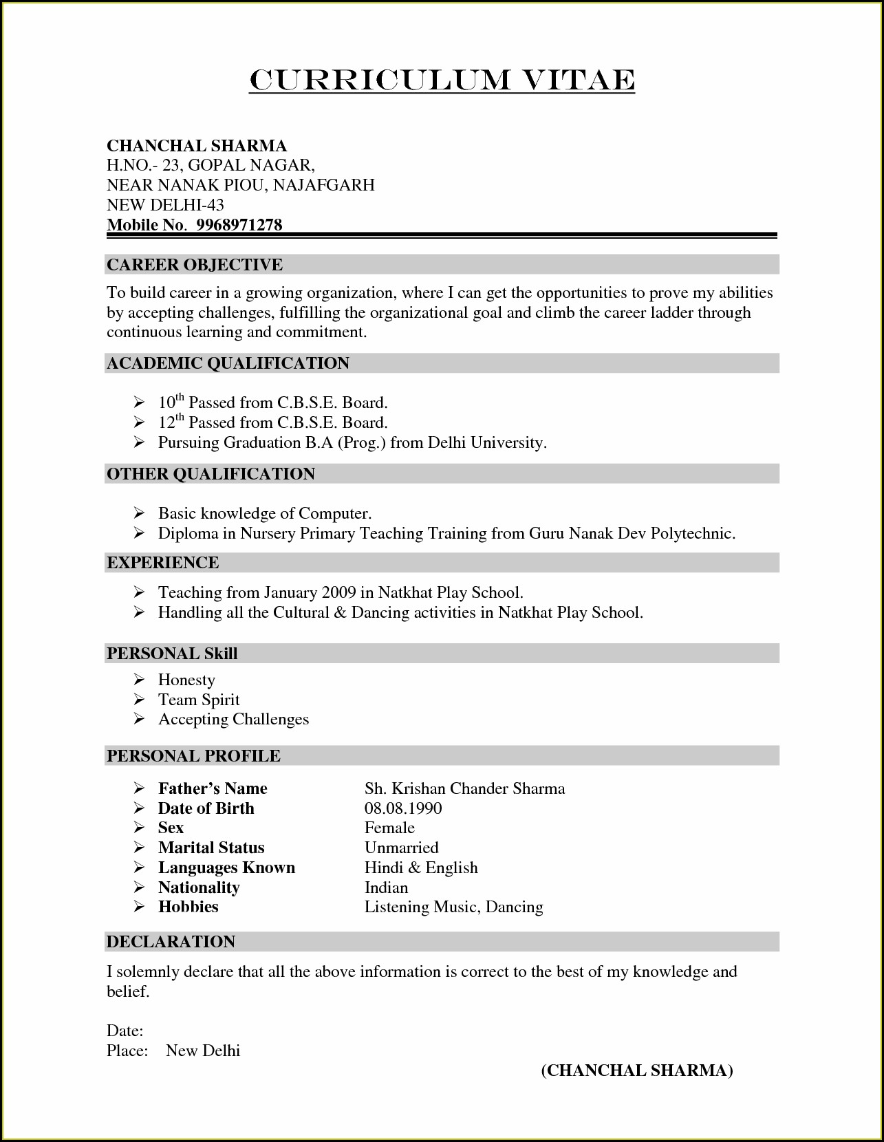 Doc Teacher Resume Format In Word Free Download