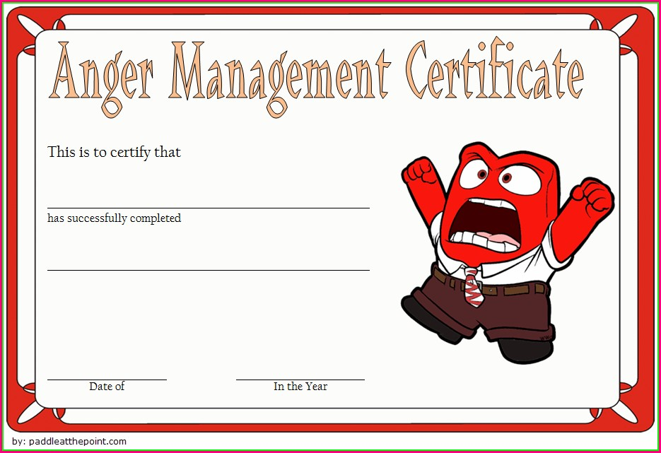 Downloadable Anger Management Certificate Template