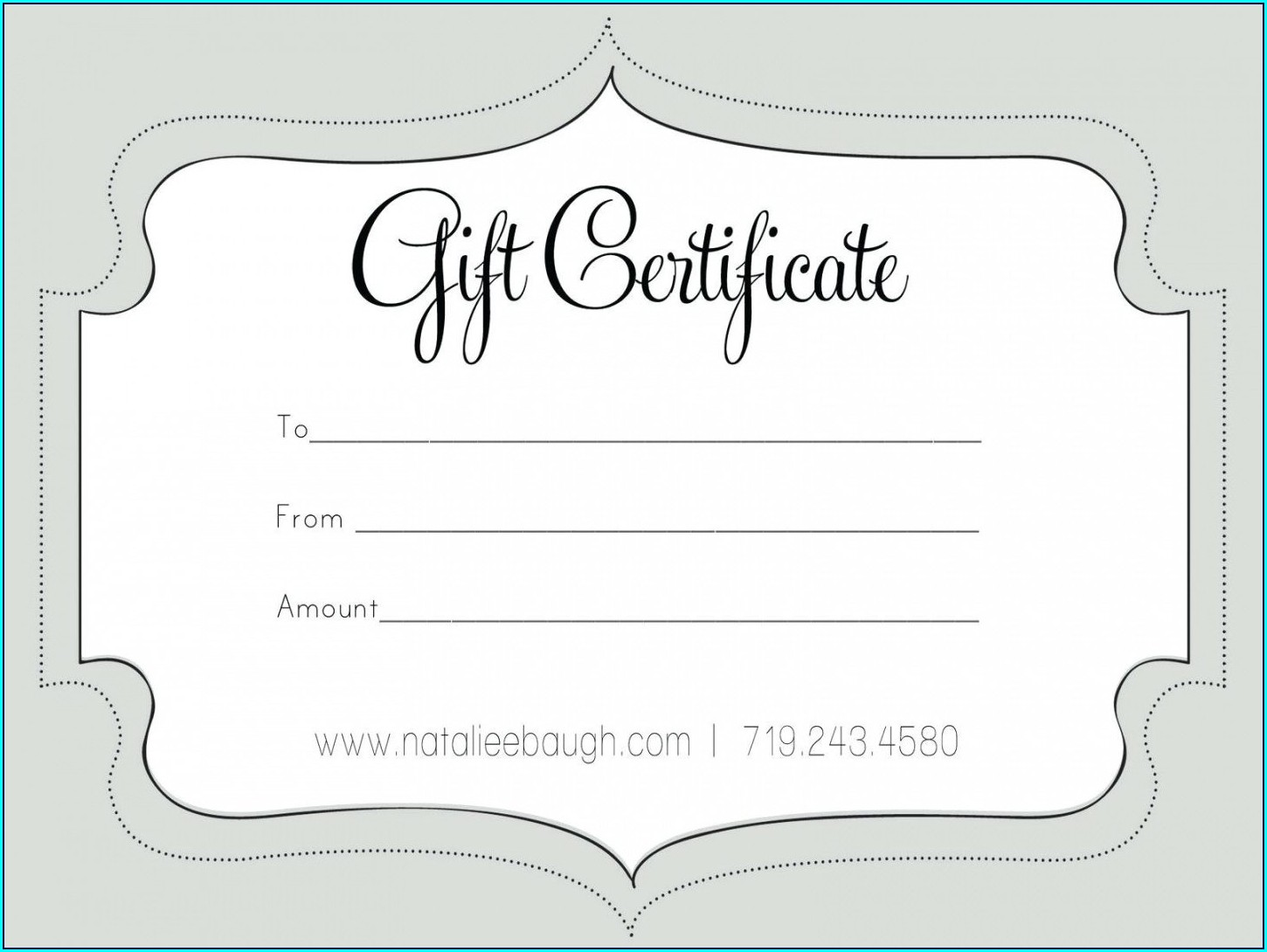 Downloadable Custom Gift Certificate Template