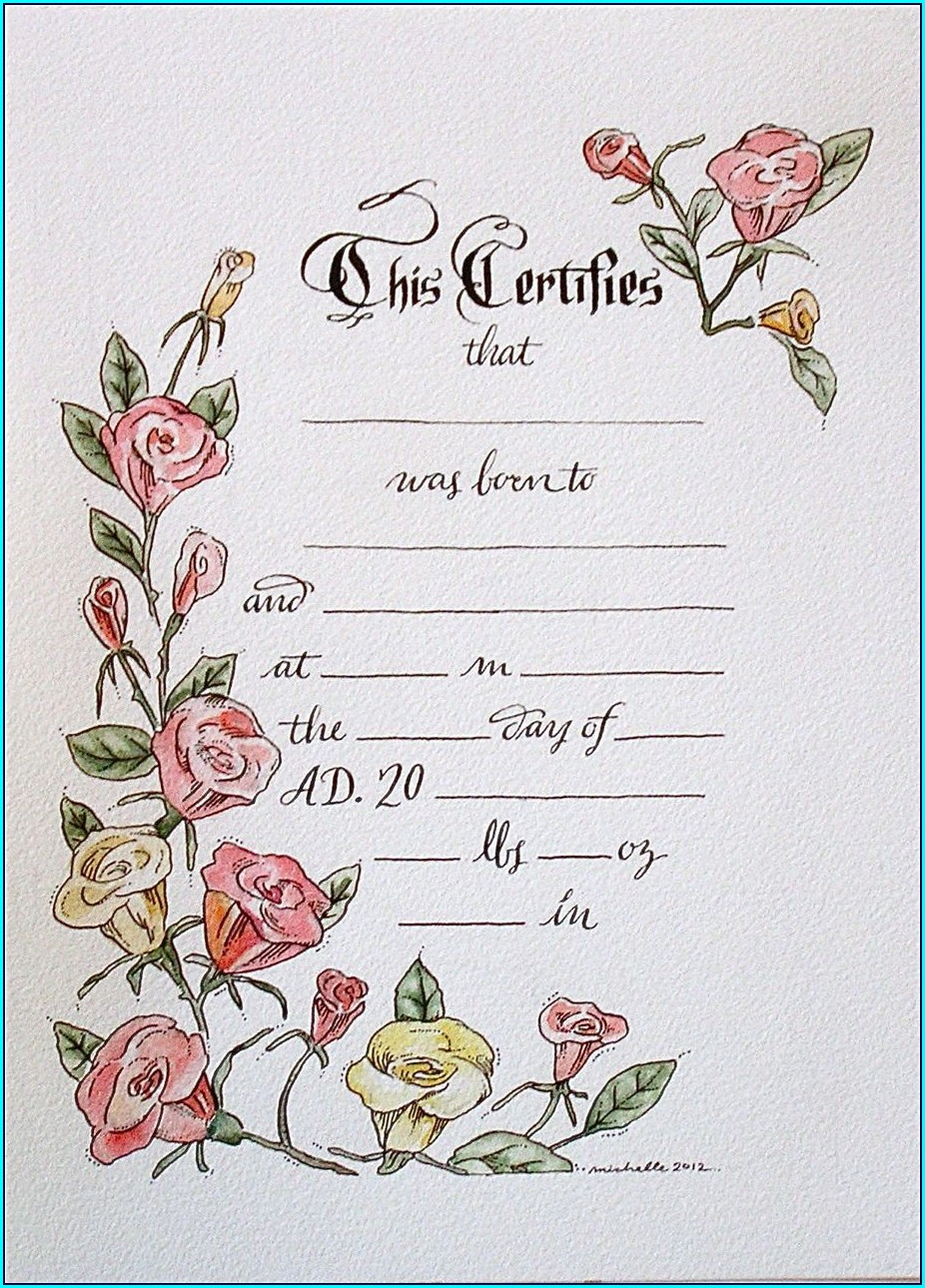 Downloadable Doll Birth Certificate Template