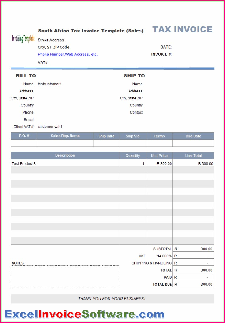 Downloadable Excel Invoice Templates