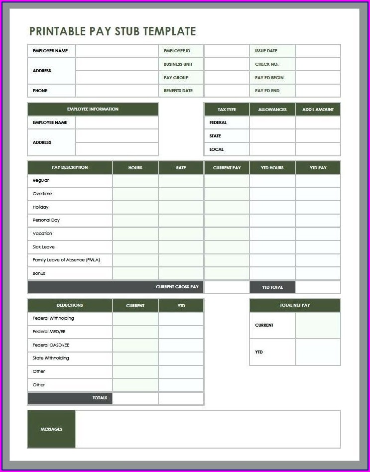 Downloadable Fillable Printable Pay Stub Template Free