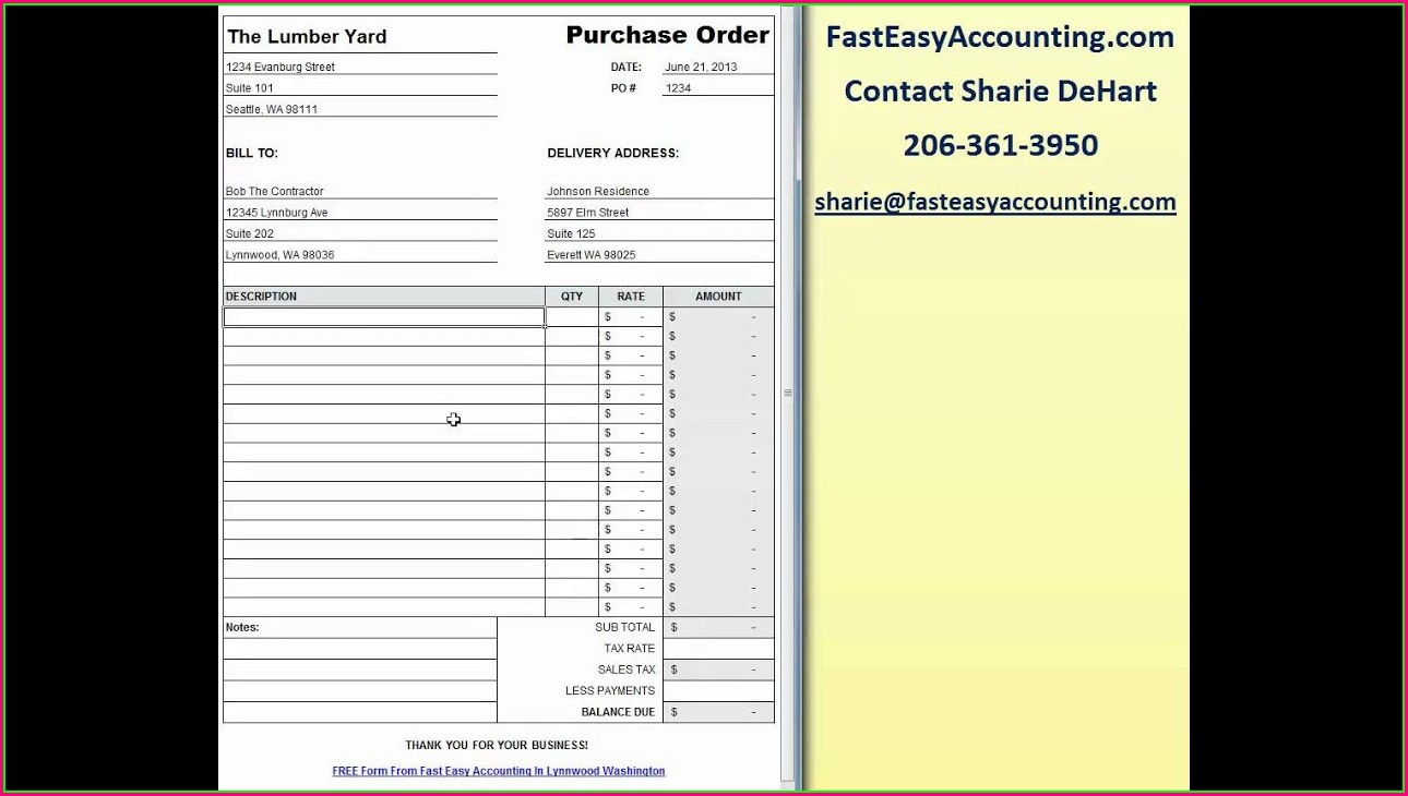 Downloadable Free Purchase Order Template Excel
