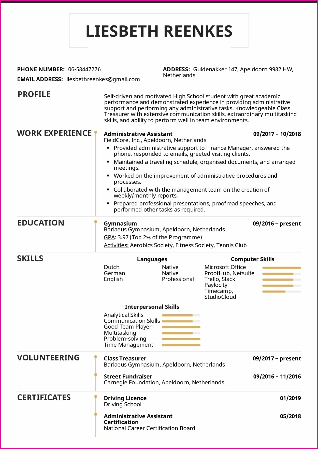 Downloadable High School Resume Template