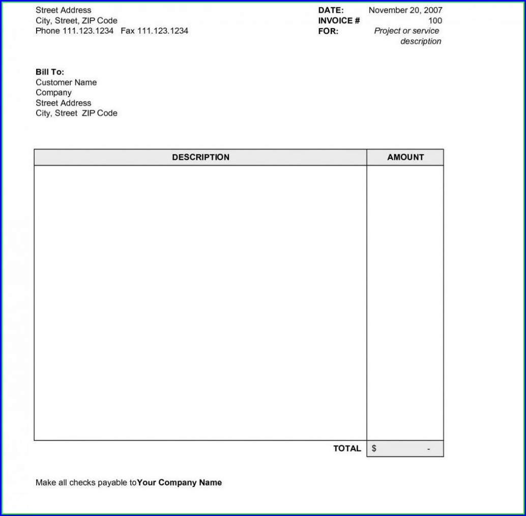 Downloadable Simple Invoice Template Pdf