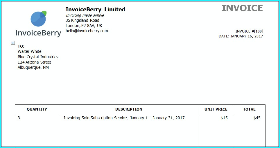 Draft Invoice Template Word