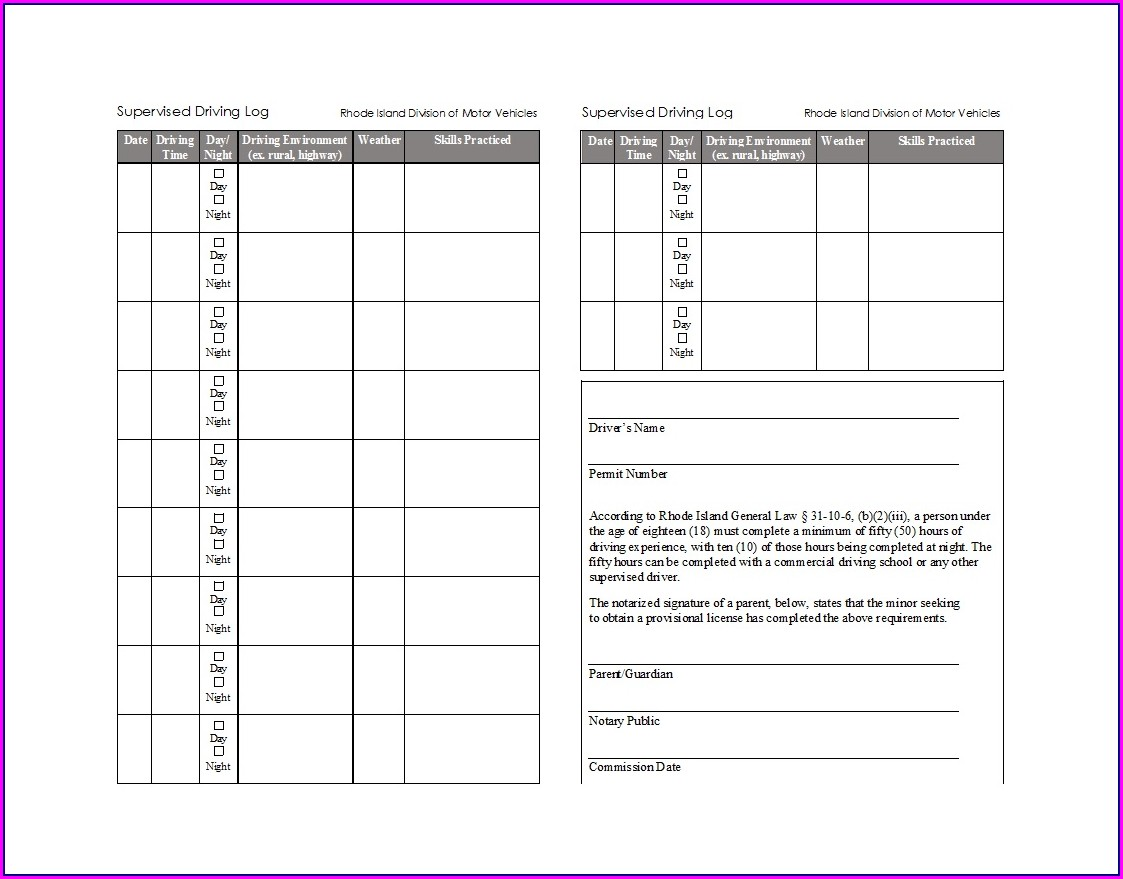 Drivers Daily Log Book Template