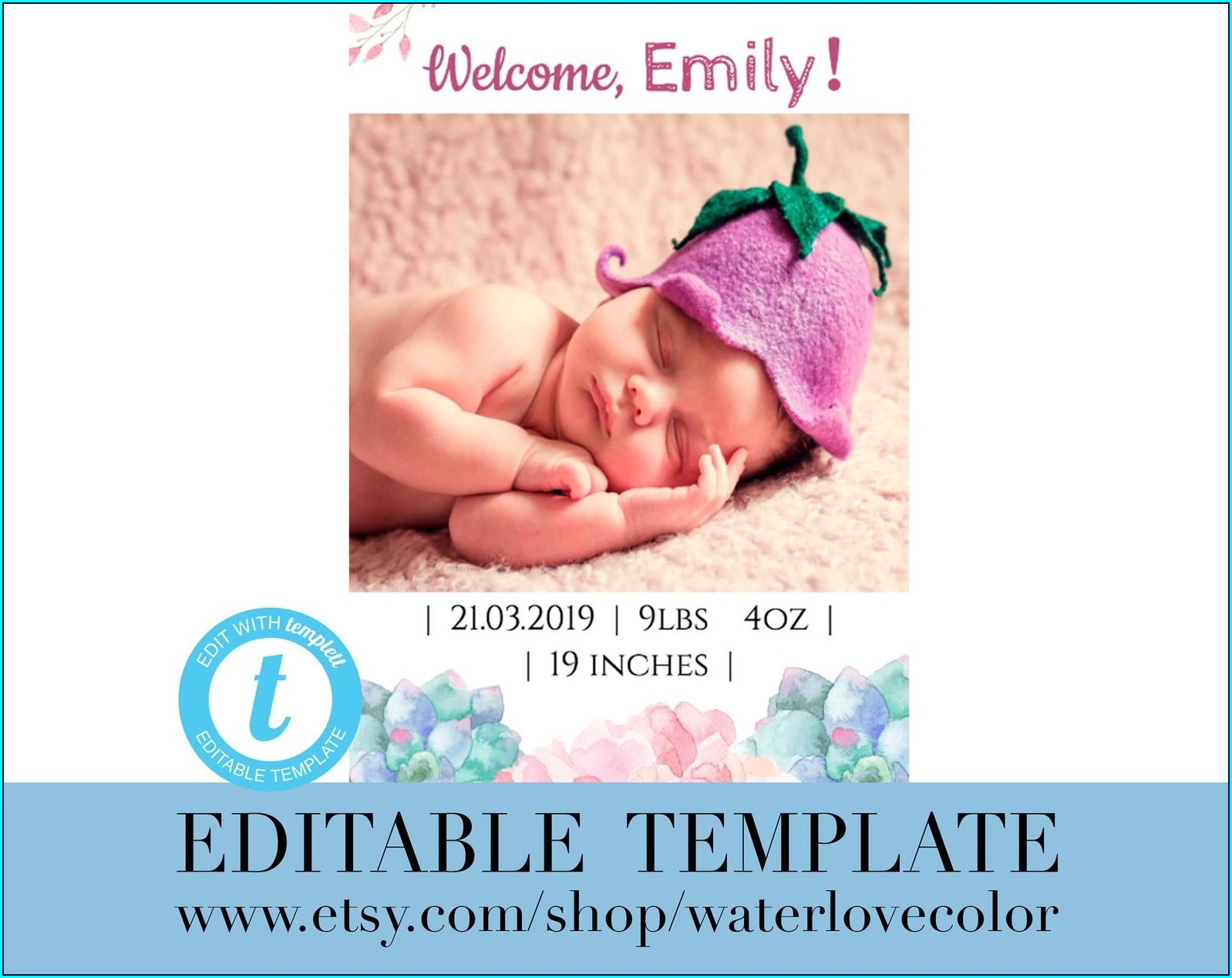 Editable Baby Girl Birth Announcement Template