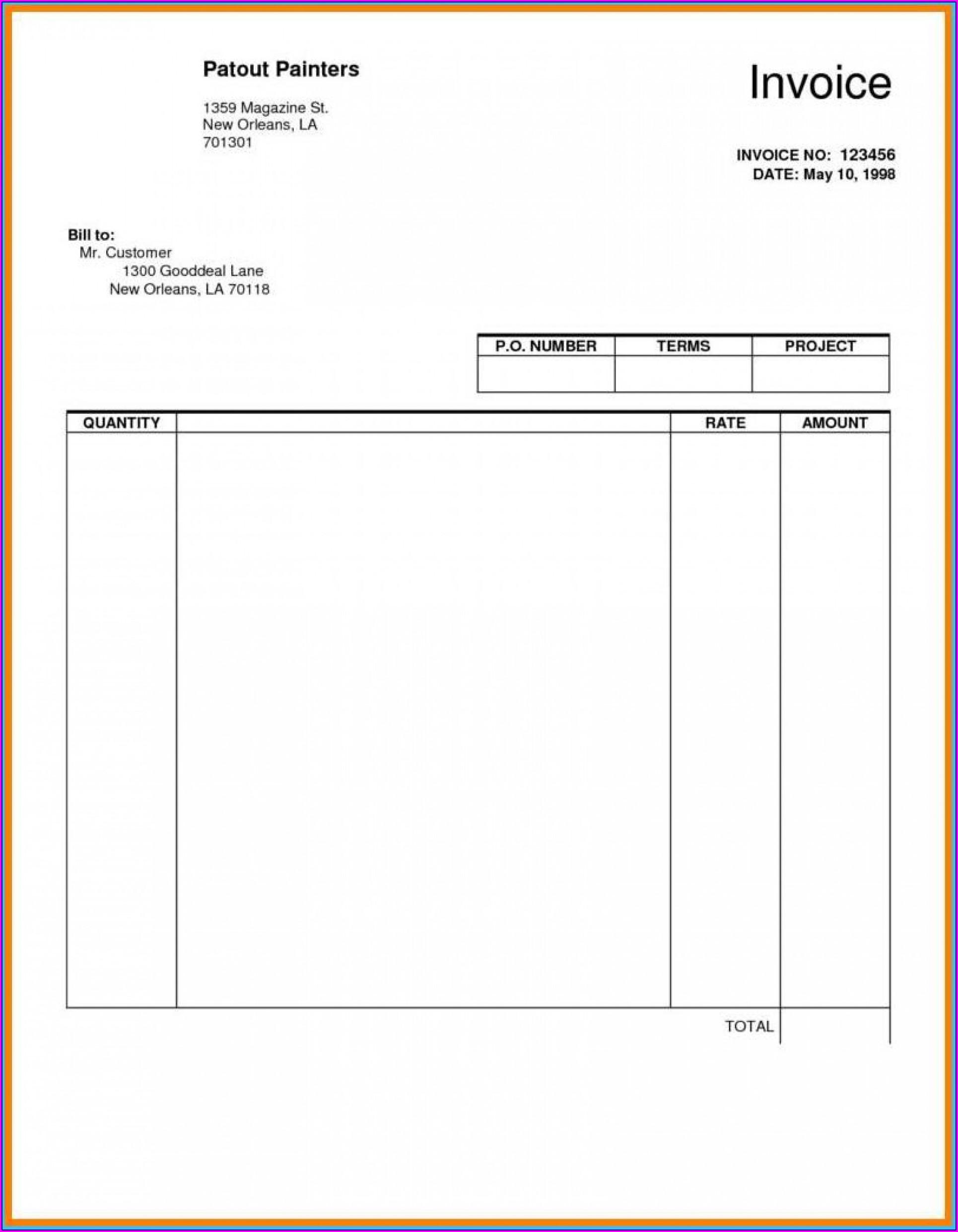 Editable Blank Invoice Template
