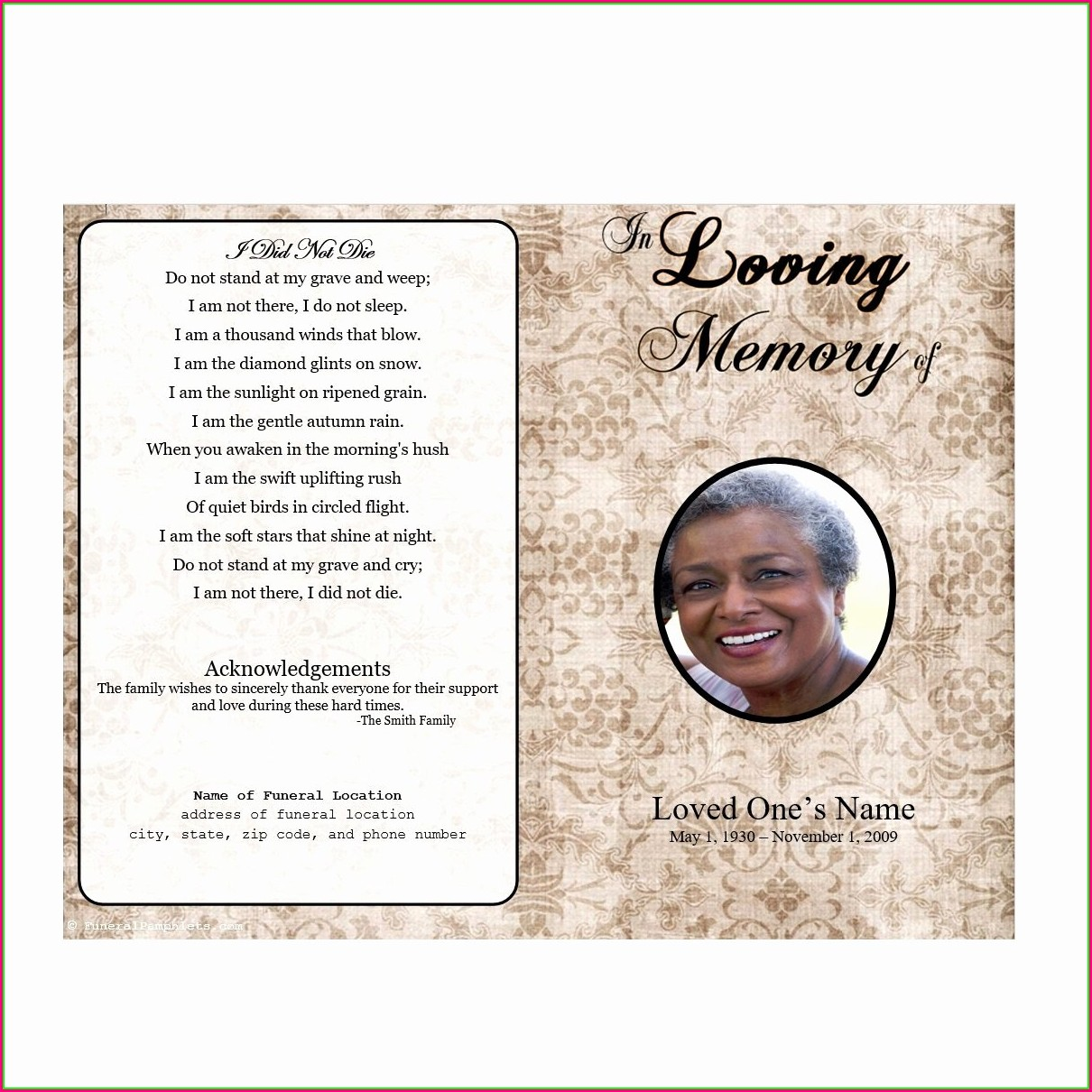 Editable Downloadable Editable Funeral Program Template
