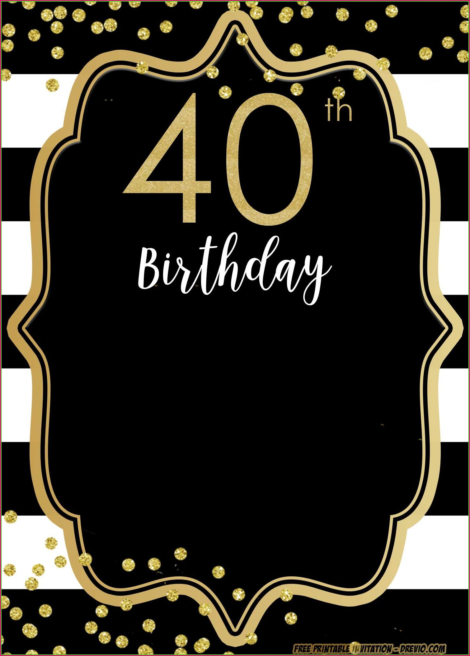 Editable Free 40th Birthday Invitations Templates