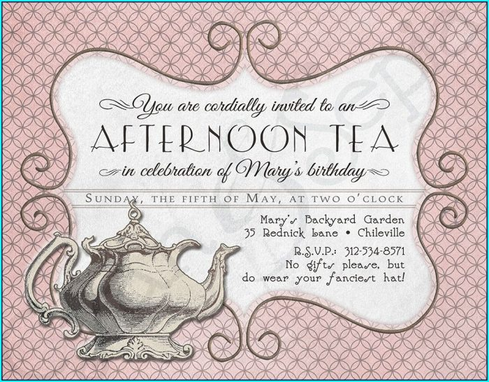 Editable High Tea Invitation Template Blank