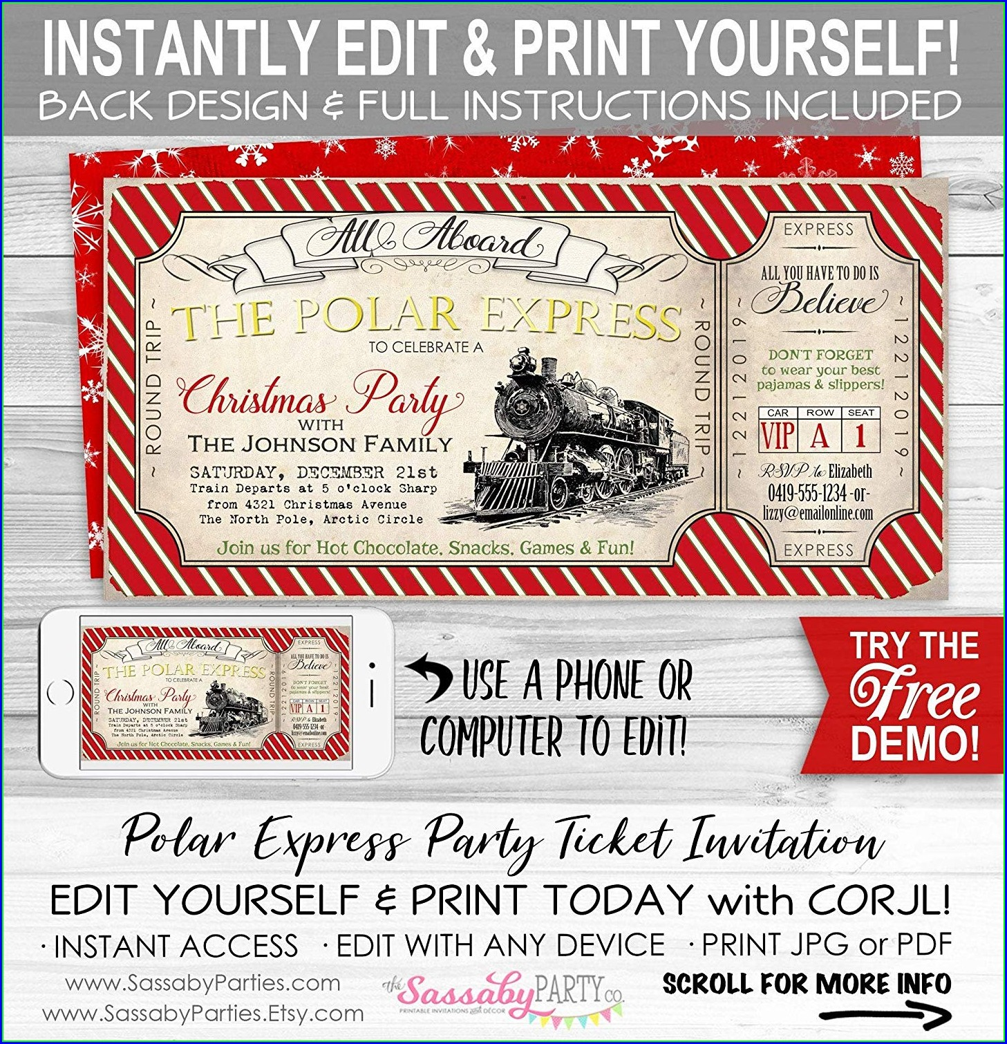 Editable Polar Express Ticket Template