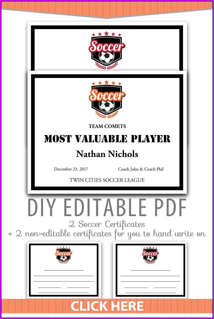 Editable Sports Award Certificate Template