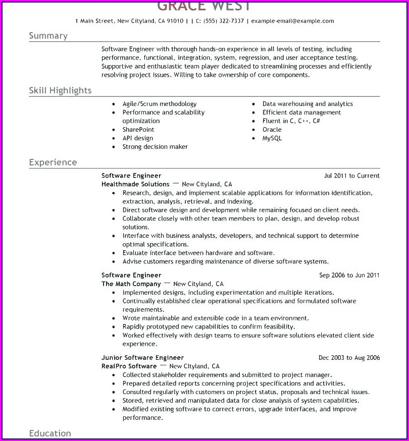 Electrical Engineer Resume Format Free Download