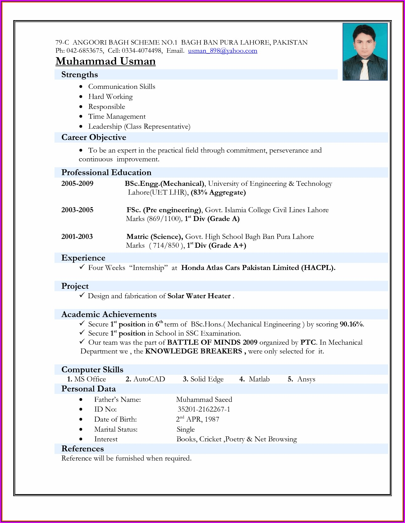 Electrical Engineering Resume Format Download Pdf