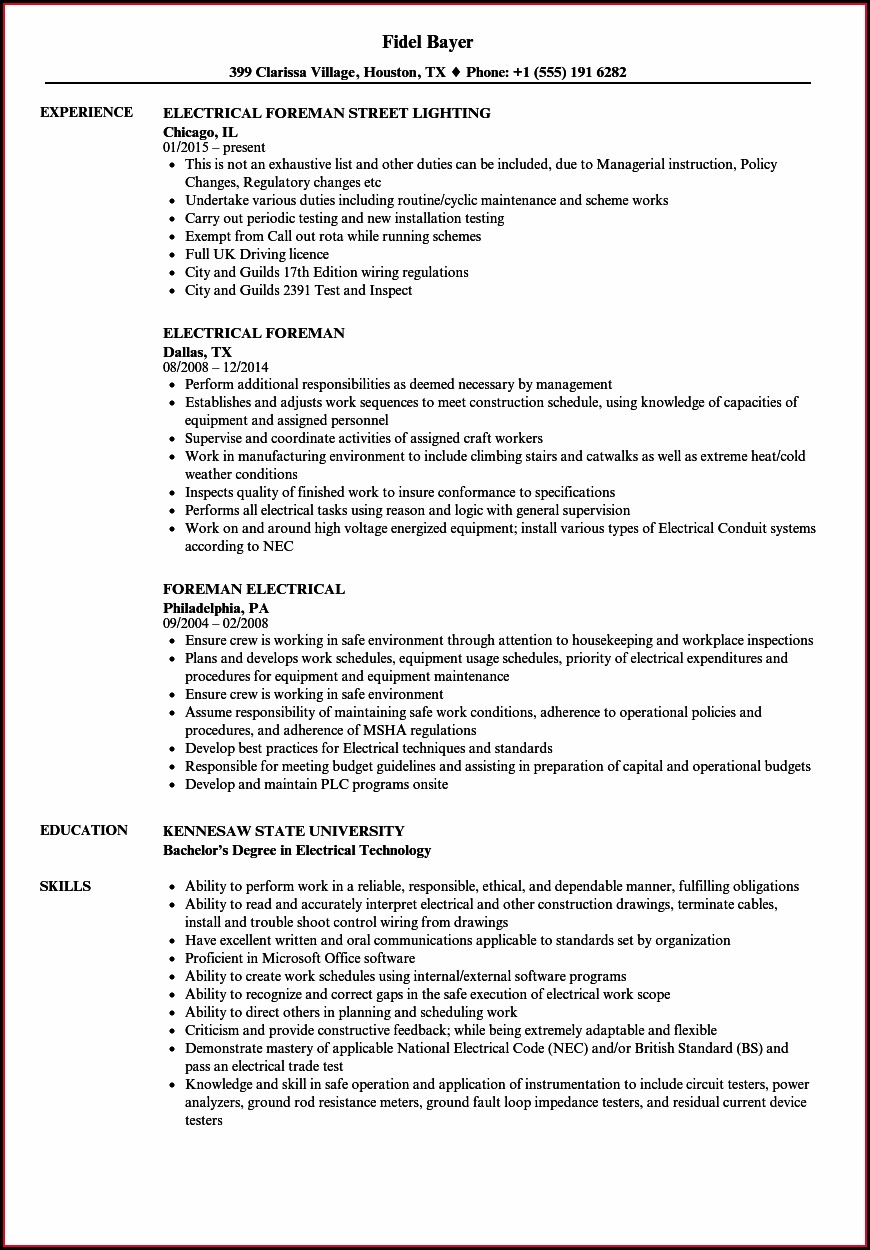 Electrical Foreman Resume Samples