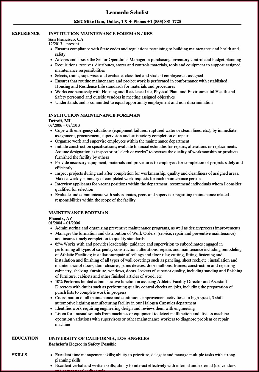 Electrical General Foreman Resume Sample