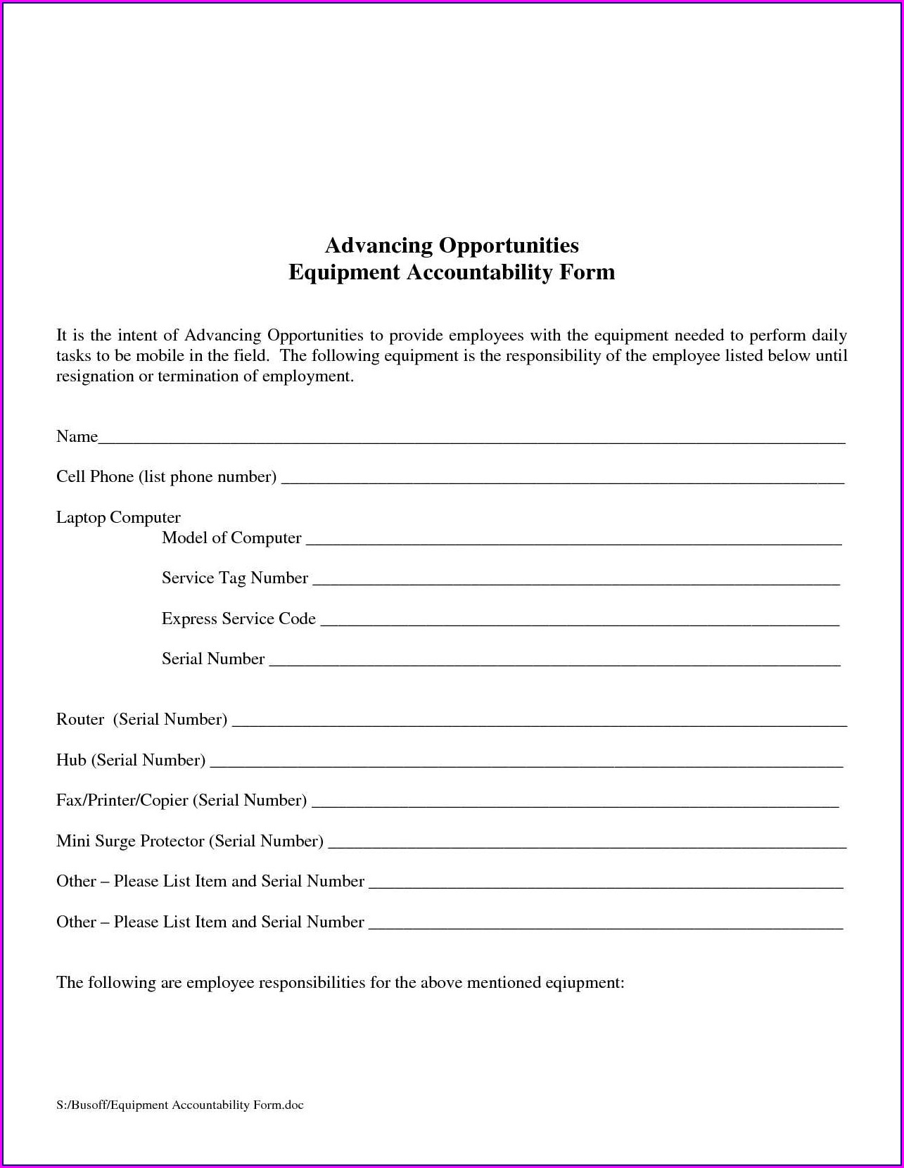 Employee Equipment Loan Agreement Template
