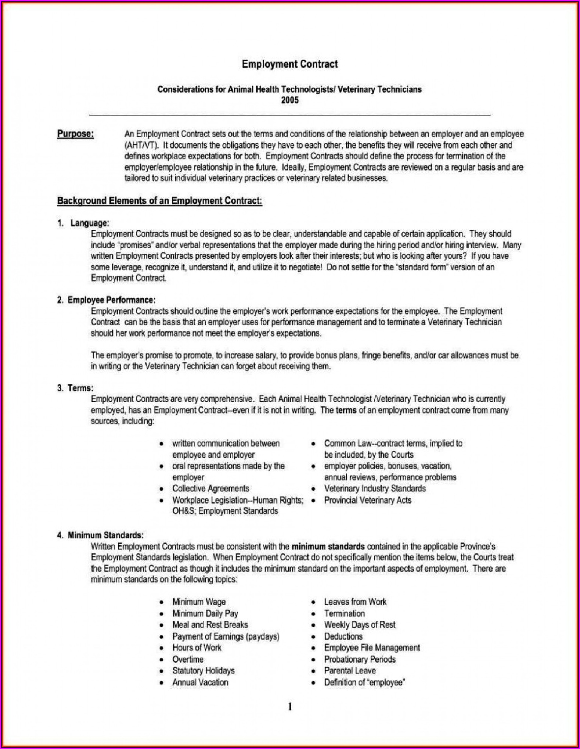 Employment Contract Template Free Download South Africa