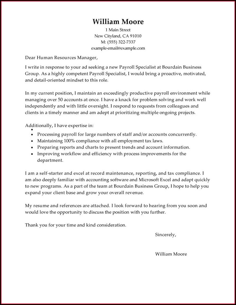 Employment Examples Of Cover Letters For Resumes