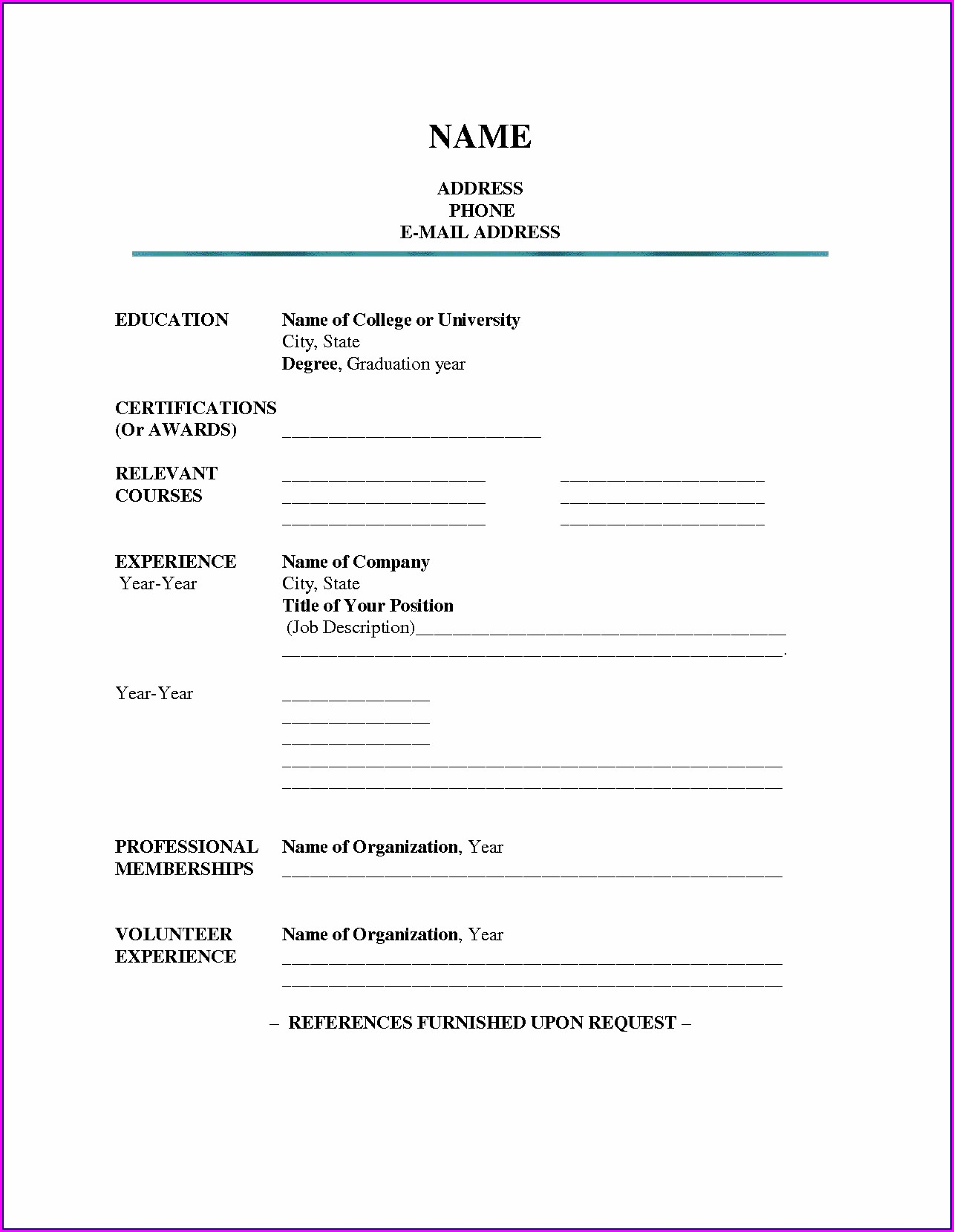 Empty Blank Resume Format Download